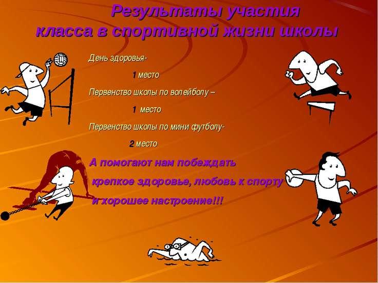 Результаты участия класса в спортивной жизни школы День здоровья- 1 место Пер...