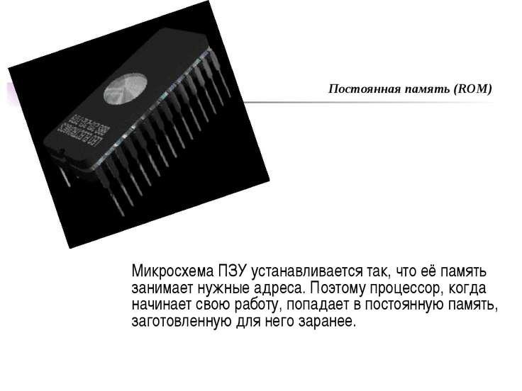 Микросхема ПЗУ устанавливается так, что её память занимает нужные адреса. Поэ...