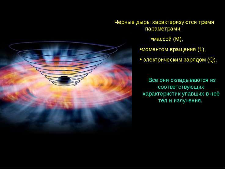 Чёрные дыры характеризуются тремя параметрами: массой (M), моментом вращения ...