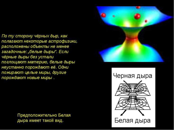 По ту сторону чёрных дыр, как полагают некоторые астрофизики, расположены объ...