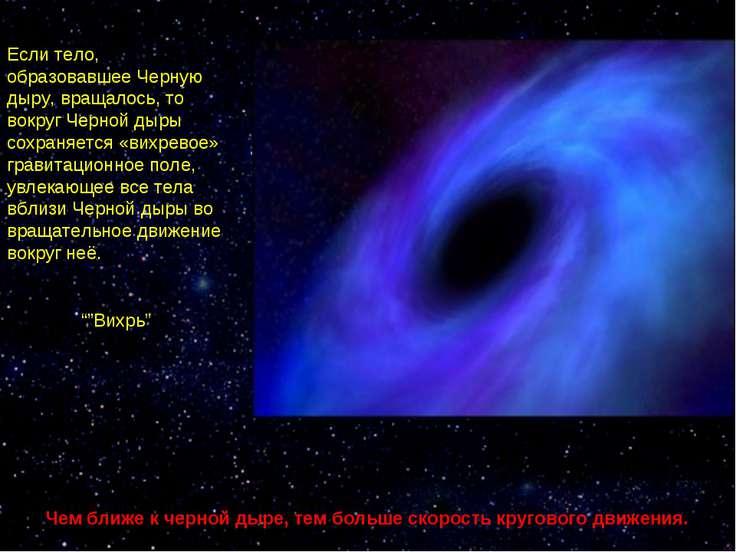 Если тело, образовавшее Черную дыру, вращалось, то вокруг Черной дыры сохраня...