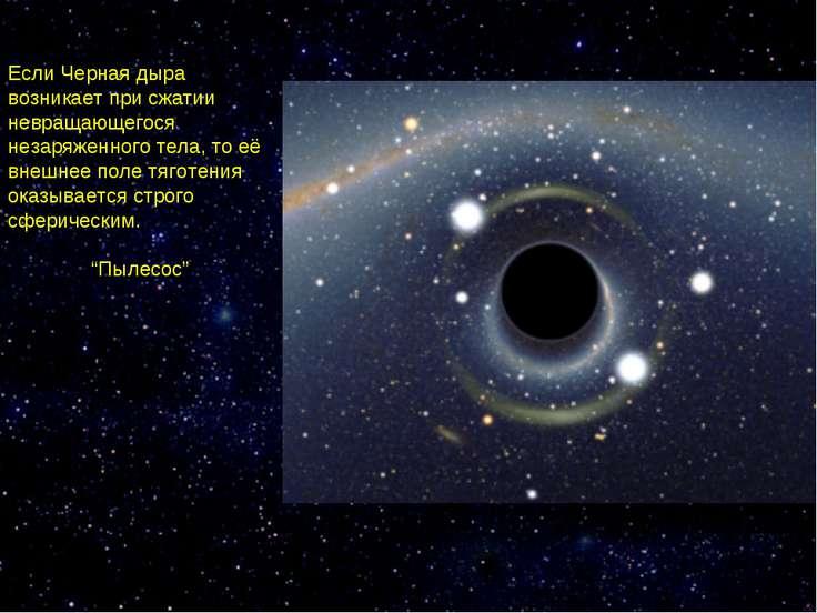 Если Черная дыра возникает при сжатии невращающегося незаряженного тела, то е...