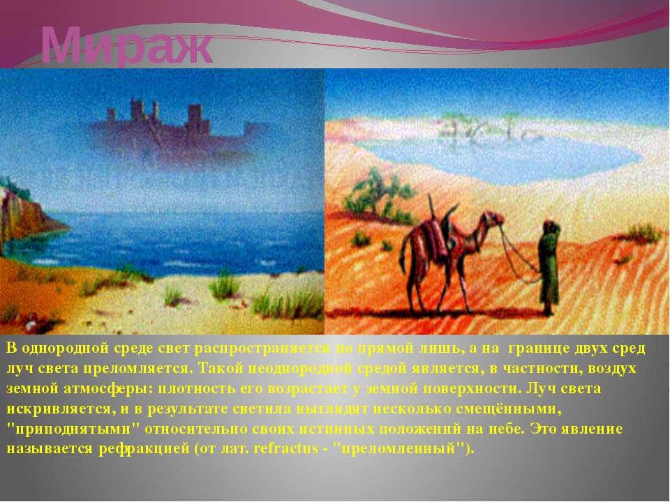 Мираж В однородной среде свет распространяется по прямой лишь, а на границе ...