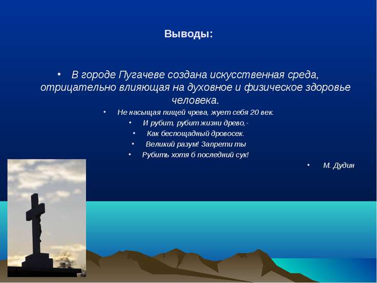 Выводы: В городе Пугачеве создана искусственная среда, отрицательно влияющая ...