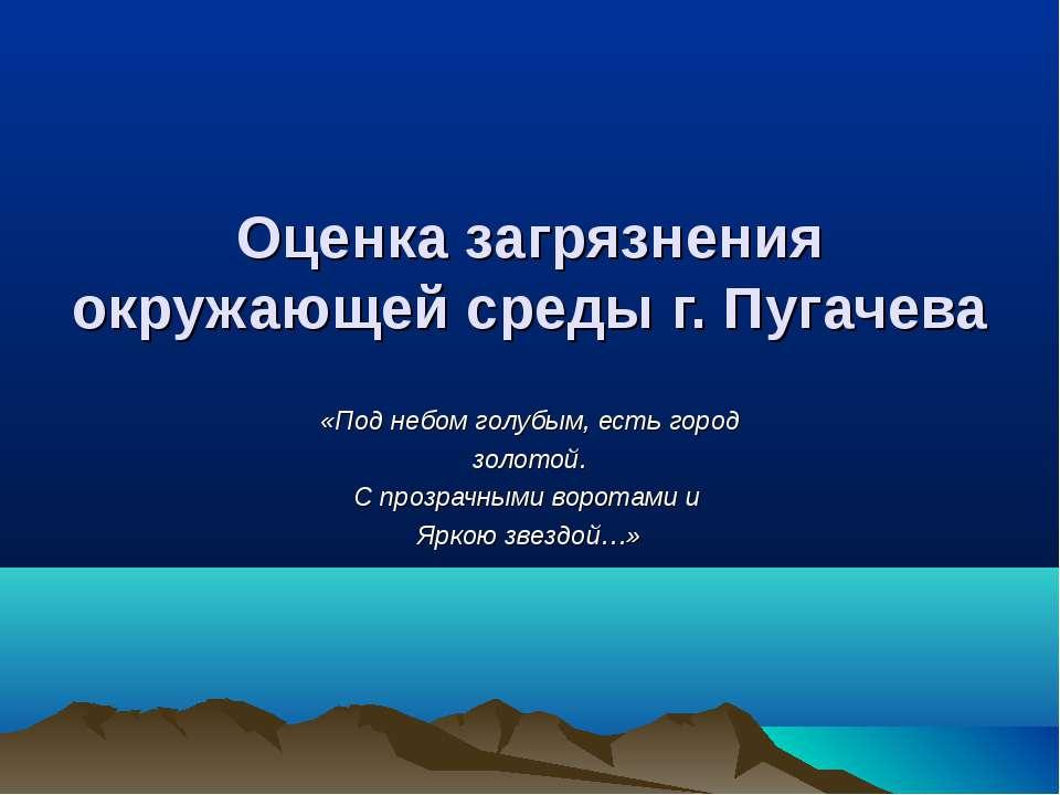 Оценка загрязнения окружающей среды г. Пугачева «Под небом голубым, есть горо...