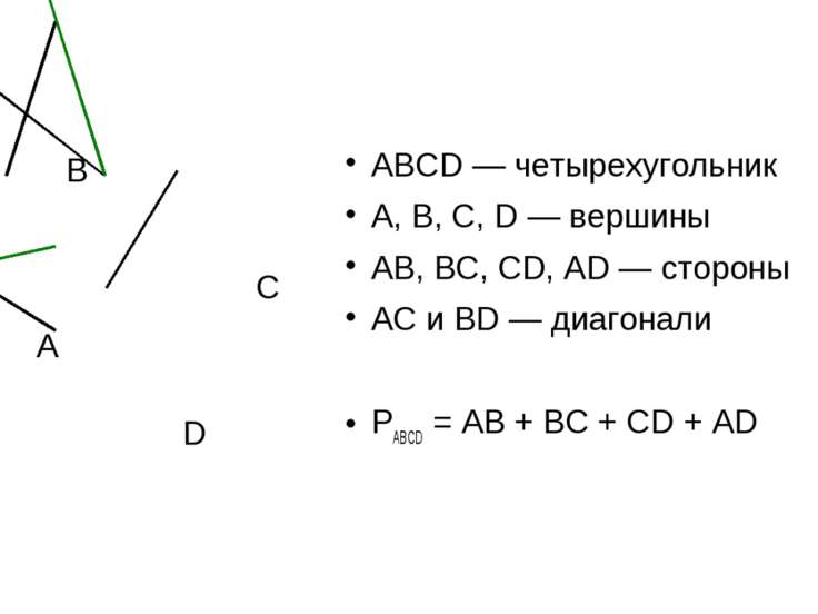 А B C D ABCD — четырехугольник A, B, C, D — вершины AB, BC, CD, AD — стороны ...