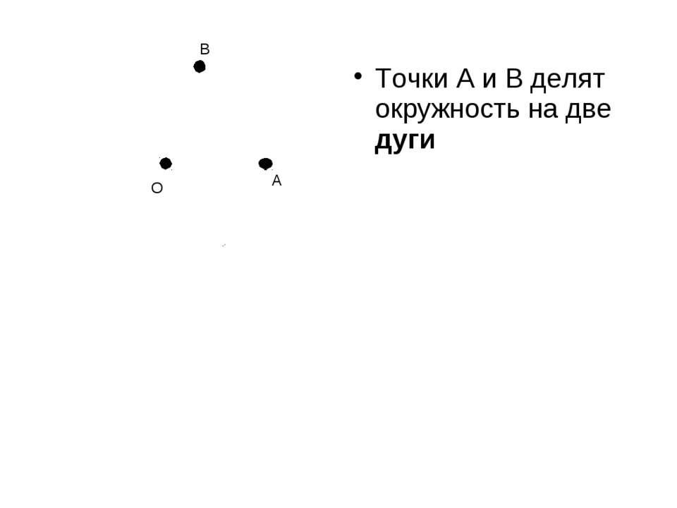 Точки А и В делят окружность на две дуги А О В
