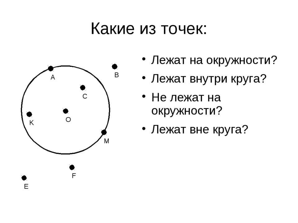 Какие из точек: О Лежат на окружности? Лежат внутри круга? Не лежат на окружн...