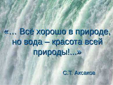 «… Всё хорошо в природе, но вода – красота всей природы!...» С.Т. Аксаков