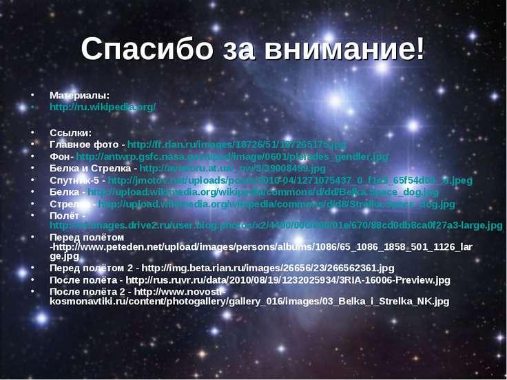 Спасибо за внимание! Материалы: http://ru.wikipedia.org/ Ссылки: Главное фото...