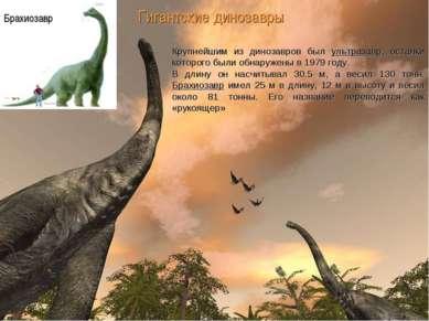 Гигантские динозавры Крупнейшим из динозавров был ультразавр, останки которог...