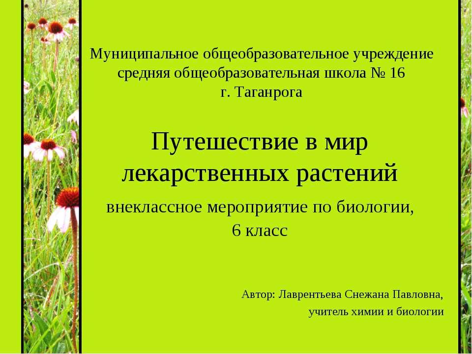Путешествие в мир лекарственных растений внеклассное мероприятие по биологии,...