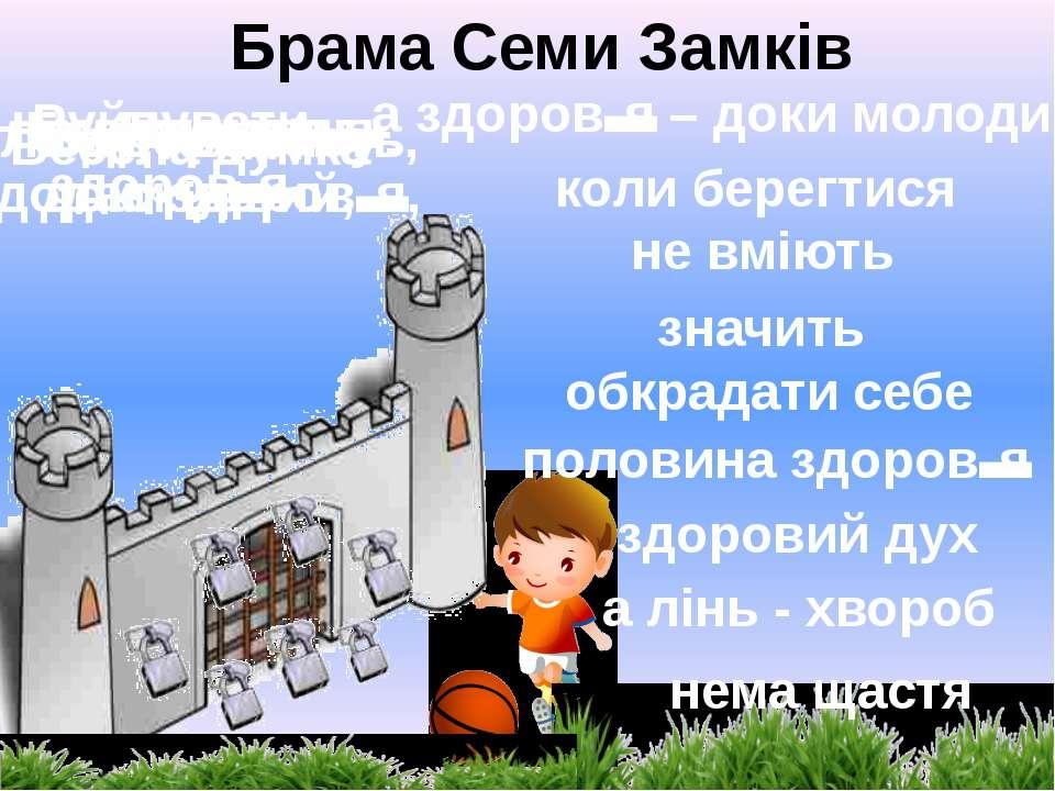 Брама Семи Замків Нема здоров'я- нема щастя Руйнувати здоров'я- значить обкра...