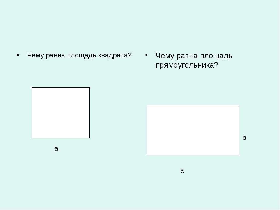 Чему равна площадь квадрата? Чему равна площадь прямоугольника? а а b