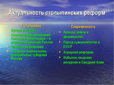 Актуальность столыпинских реформ У Столыпина Хутора и отруба Политическая авт...