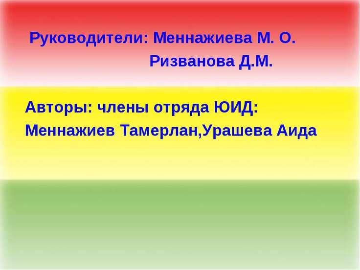 Руководители: Меннажиева М. О. Ризванова Д.М. Авторы: члены отряда ЮИД: Менна...