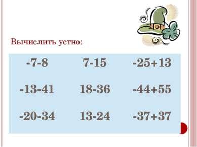 Вычислить устно: -7-8 7-15 -25+13 -13-41 18-36 -44+55 -20-34 13-24 -37+37
