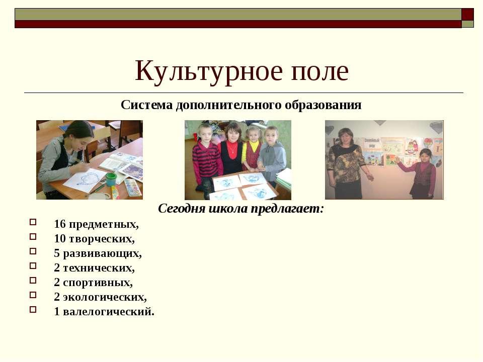 Культурное поле Система дополнительного образования Сегодня школа предлагает:...