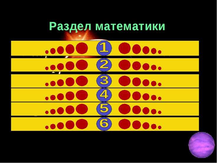 Раздел математики Алгебра 22 Геометрия 17 Арифметика 15 тригонометрия 12 астр...