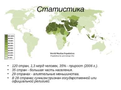Статистика 120 стран, 1,3 млрд человек, 35% - прирост (2006 г.). 35 стран - б...