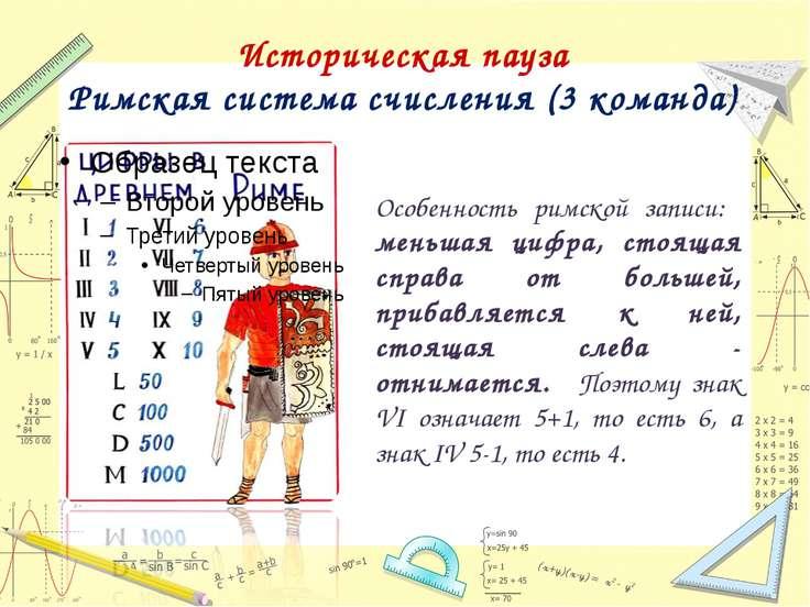 Особенность римской записи: меньшая цифра, стоящая справа от большей, прибавл...