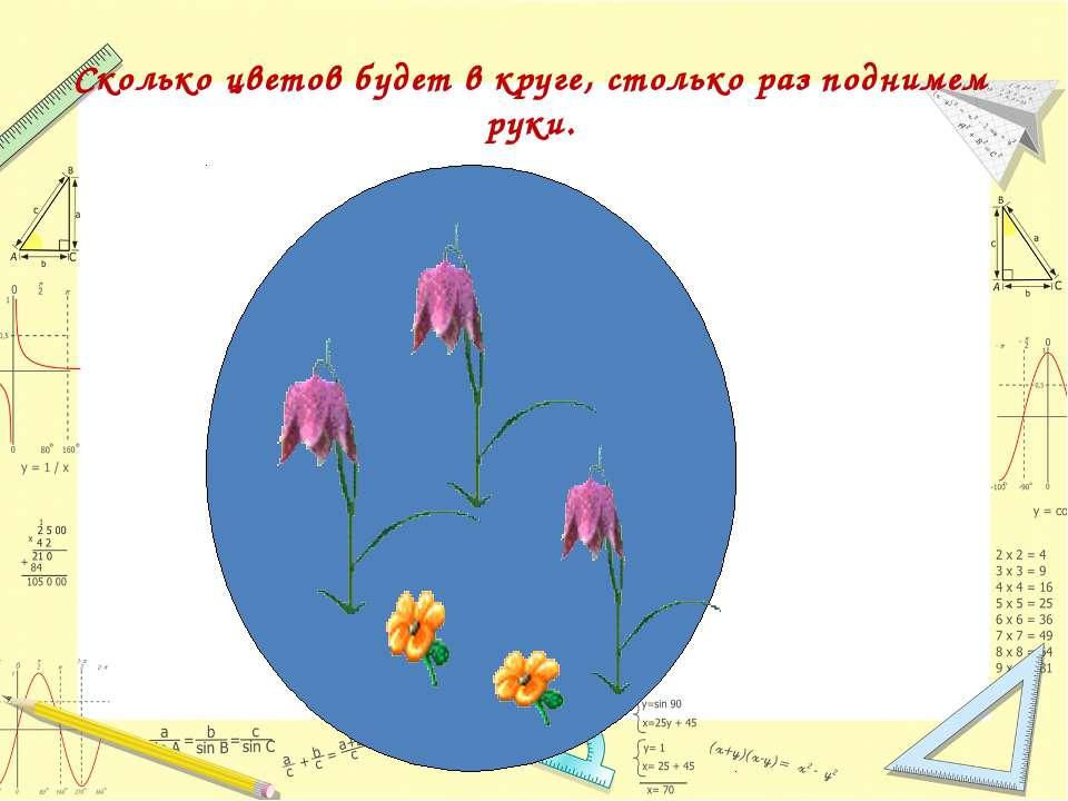 Сколько цветов будет в круге, столько раз поднимем руки.