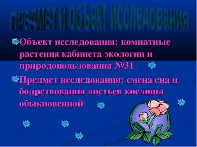 Объект исследования: комнатные растения кабинета экологии и природопользовани...
