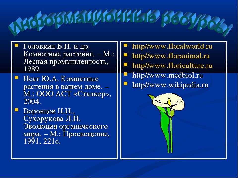 Головкин Б.Н. и др. Комнатные растения. – М.: Лесная промышленность, 1989 Иса...