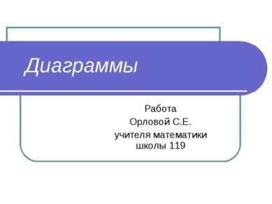 Диаграммы Работа Орловой С.Е. учителя математики школы 119