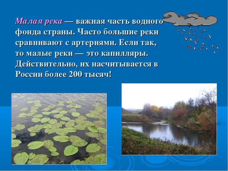 Малая река — важная часть водного фонда страны. Часто большие реки сравнивают...