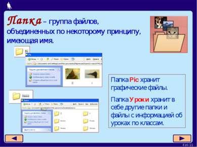 Папка – группа файлов, объединенных по некоторому принципу, имеющая имя. Папк...