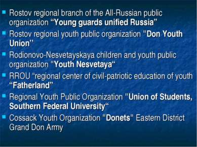"Rostov regional branch of the All-Russian public organization ""Young guards u..."