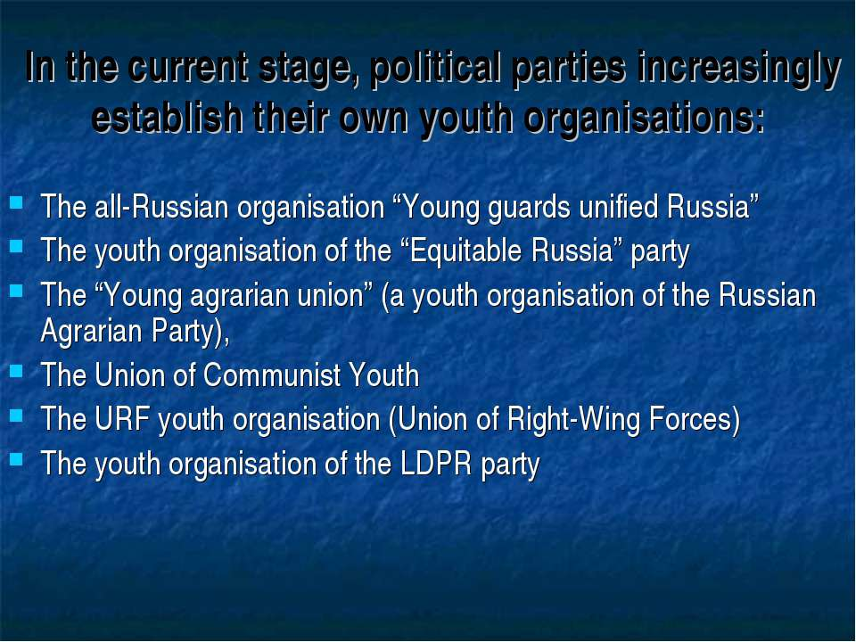 In the current stage, political parties increasingly establish their own yout...