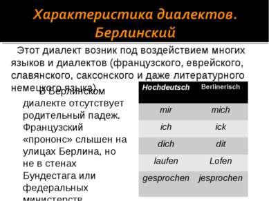 В Берлинском диалекте отсутствует родительный падеж. Французский «прононс» сл...