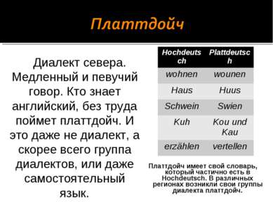 Платтдойч имеет свой словарь, который частично есть в Hochdeutsch. В различны...