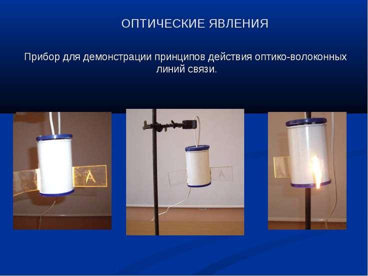 ОПТИЧЕСКИЕ ЯВЛЕНИЯ Прибор для демонстрации принципов действия оптико-волоконн...