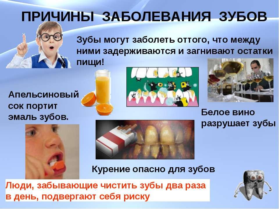 ПРИЧИНЫ ЗАБОЛЕВАНИЯ ЗУБОВ Зубы могут заболеть оттого, что между ними задержив...