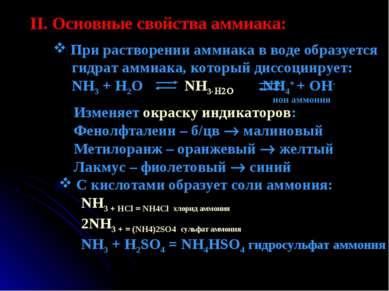 II. Основные свойства аммиака: При растворении аммиака в воде образуется гидр...