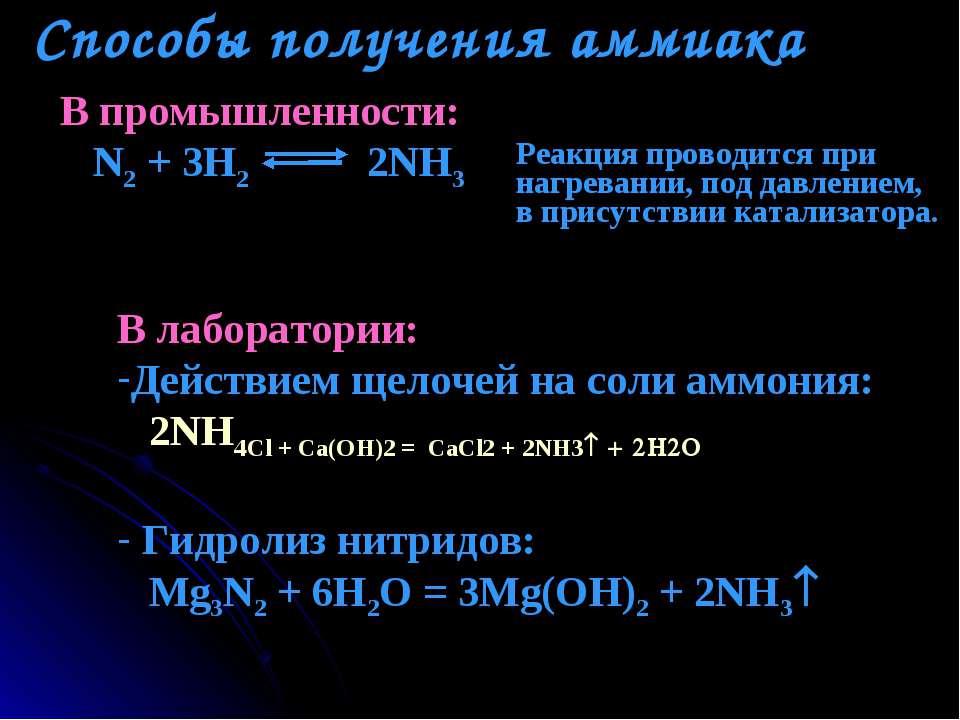 Способы получения аммиака В промышленности: N2 + 3H2 2NH3 Реакция проводится ...