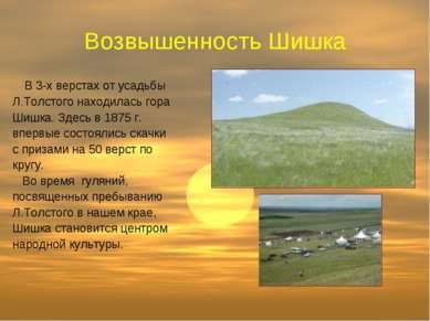 Возвышенность Шишка В 3-х верстах от усадьбы Л.Толстого находилась гора Шишка...