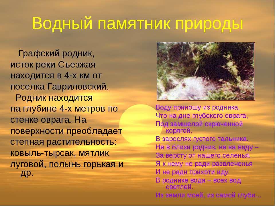 Водный памятник природы Графский родник, исток реки Съезжая находится в 4-х к...