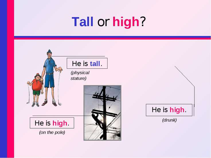 Tall or high? He is tall. He is high. He is high. (on the pole) (drunk) (phys...