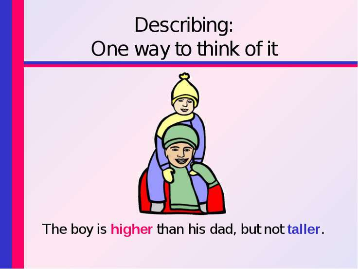 Describing: One way to think of it The boy is higher than his dad, but not ta...