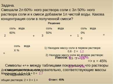 Задача. Смешали 2л 60%- ного раствора соли с 3л 50%- ного раствора соли и к с...