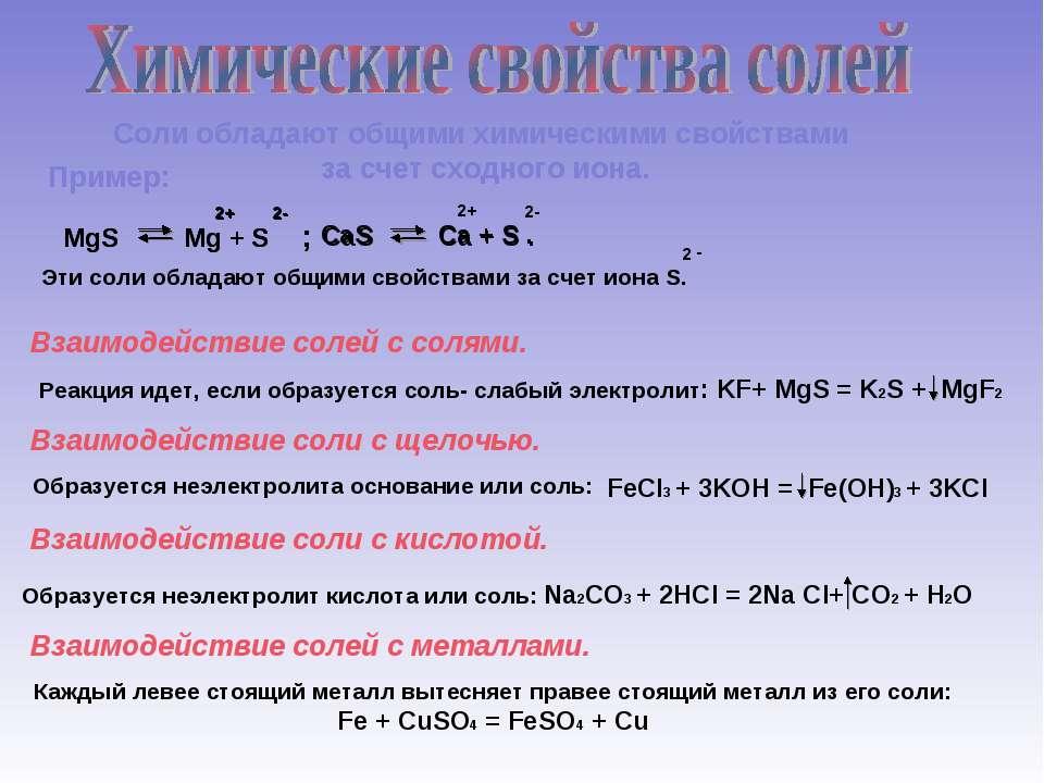 Соли обладают общими химическими свойствами за счет сходного иона. Пример: Вз...