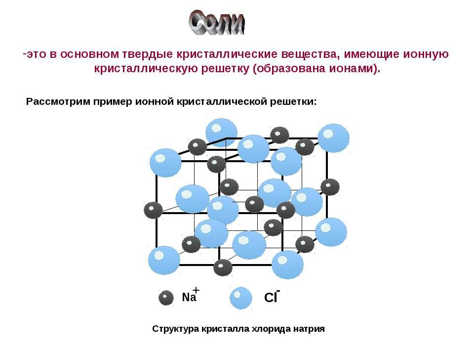 Структура кристалла хлорида натрия это в основном твердые кристаллические вещ...