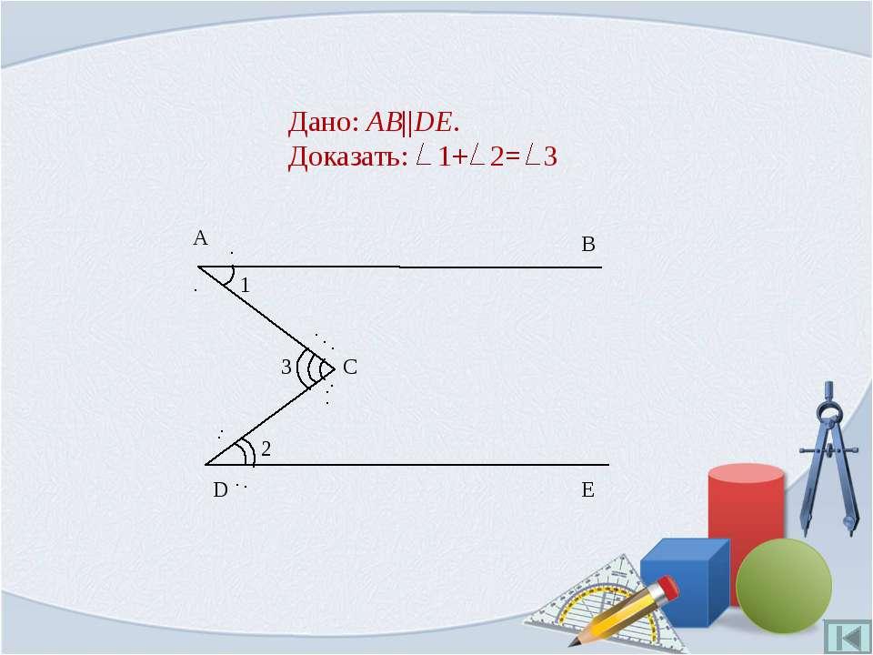 Дано: AB||DE. Доказать: 1+ 2= 3