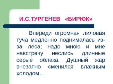 И.С.ТУРГЕНЕВ «БИРЮК» Впереди огромная лиловая туча медленно поднималась из-за...