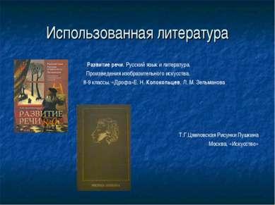 Использованная литература Развитие речи. Русский язык и литература. Произведе...