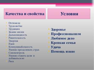 Качества и свойства Условия Оптимизм Трудолюбие Эрудиция Знание жизни Дальнов...